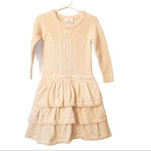 Hanna Andersson Ecru Ruffled Cable Sweater Dress 4